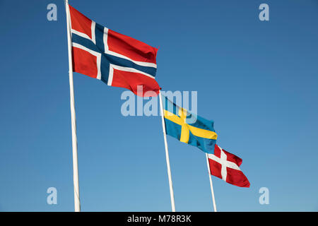Scandinavian country flags against blue sky, Hornbaek, Kattegat Coast, Zealand, Denmark, Scandinavia, Europe - Stock Photo