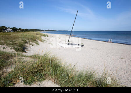 Hornbaek beach with white sand and sand dunes, Hornbaek, Kattegat Coast, Zealand, Denmark, Scandinavia, Europe - Stock Photo