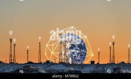Telecommunication towers with global network connection, and location sign symbol. Element of this image are furnished - Stock Photo