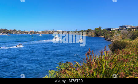 Boats on the Swan River at North Fremantle. Perth, Western Australia - Stock Photo