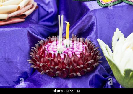 traditioal hand made Loy Krathong Lanterns and candles at a market at the Santichaiparakan park in Banglamphu in - Stock Photo