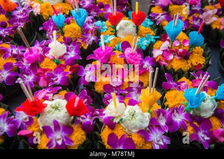 A Loy Krathong flooting candle Lanterns at a market  in the city of Bangkok in Thailand.  Thailand, Bangkok, November, - Stock Photo