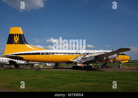 Bristol Britannia airliner G-AOVT on display at Imperial War Museum Duxford - Stock Photo