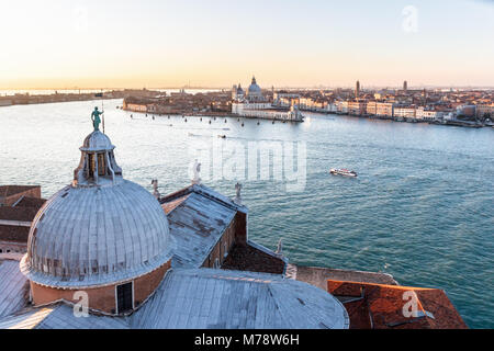 VENICE, ITALY - DECEMBER 20, 2017: Aerial view over the Grand Channel towards the church of Santa Maria della Salute - Stock Photo