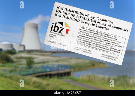 Doel nuclear power plant and iodide tablets to protect Belgian residents from radioactive fall-out in the event - Stock Photo