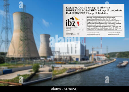 Tihange nuclear power plant and iodide tablets to protect Belgian residents from radioactive fall-out in the event - Stock Photo
