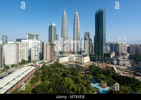 Kuala Lumpur city skyline and skyscrapers building at business district downtown in Kuala Lumpur, Malaysia. Asia. - Stock Photo