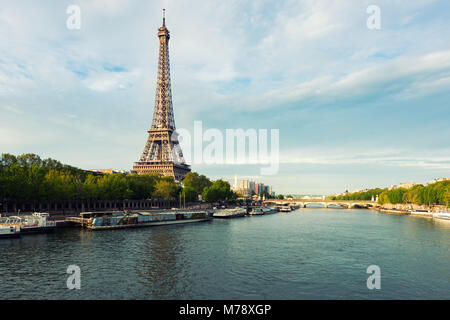 Eiffel tower in Paris from the river Seine in spring season. Paris, France. - Stock Photo