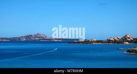 a panoramic view of La Maddalena, Santo Stefano and Caprera islands, in the Strait of Bonifacio, from Palau, in - Stock Photo