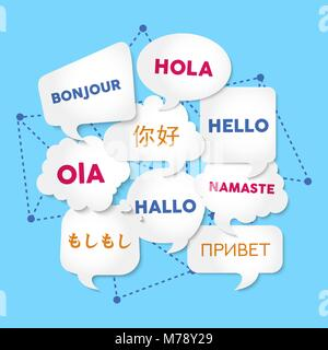 Chat bubbles with hello word in different languages, concept illustration for translation idea or international - Stock Photo