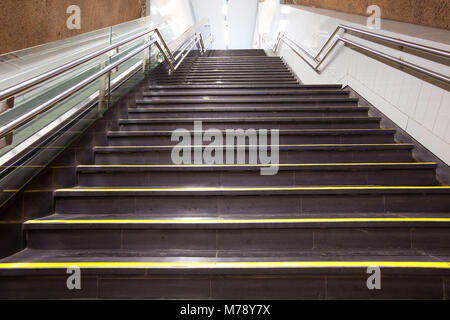 Stairs at a subway station, Santiago de Chile - Stock Photo
