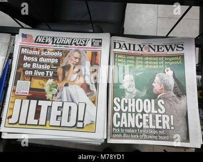 Front pages of New York newspapers on Friday, March 2, 2018 report on New York Mayor Bill De Blasio's pick for schools - Stock Photo