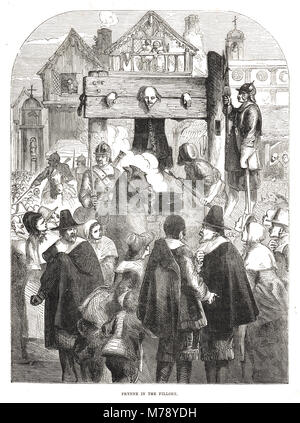 William Prynne, 1600-1669, in the pillory, 1634 - Stock Photo