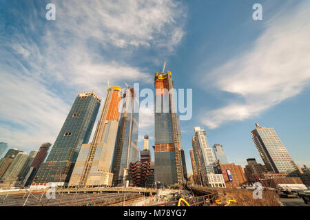 Development in and around Hudson Yards, including 'The Vessel', center, in New York on Wednesday, February 28, 2018. - Stock Photo