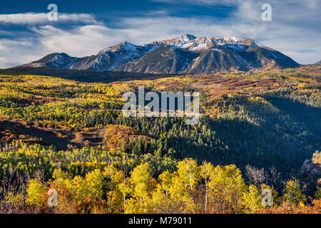 Mount Gunnison, seen from West Elk Loop Scenic Byway, Gunnison National Forest, West Elk Mountains, Rocky Mountains, - Stock Photo