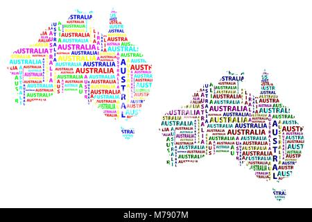 Australia Word Map.Sketch Australia Letter Text Continent Australia Word In The
