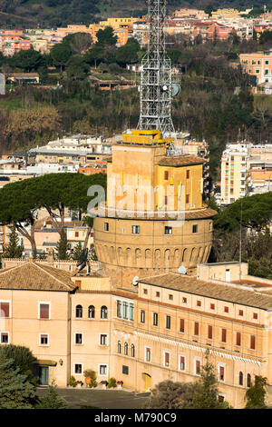 Administration building and radio masts at Vatican City for Vatican radio broadcasting, Rome, Lazio, Italy. - Stock Photo