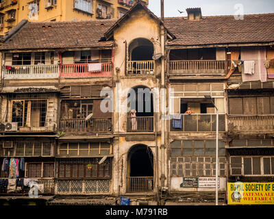 Mumbai, India – November 18, 2018: Old chawl, a residential building for lower middle class, located at central - Stock Photo