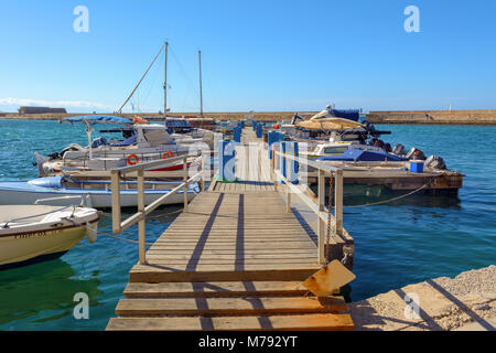 CHANIA, CRETE - 1 May, 2015: Boats moored in port of Chania. Greece - Stock Photo