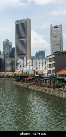 Boat Quay traditional shophouses wedged between the Singapore River and the CBD of Singapore. - Stock Photo