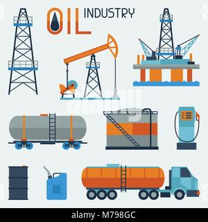Industrial set of oil and petrol icon.  - Stock Photo
