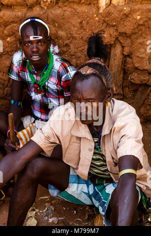 Hamar Tribesmen At The Saturday Tribal Market In Dimeka, Omo Valley, Ethiopia - Stock Photo