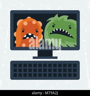 Abstract illustration computer infected with viruses. - Stock Photo