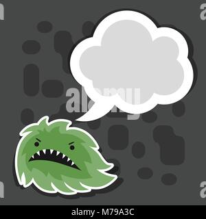 Background with little angry virus or monster. - Stock Photo