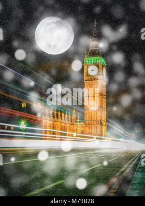 Big Ben at night with falling snow and full moon in London, UK. (Elements of this image furnished by NASA) - Stock Photo