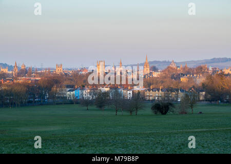 Oxford city centre from south park in the early morning in winter. Oxford, Oxfordshire, England - Stock Photo