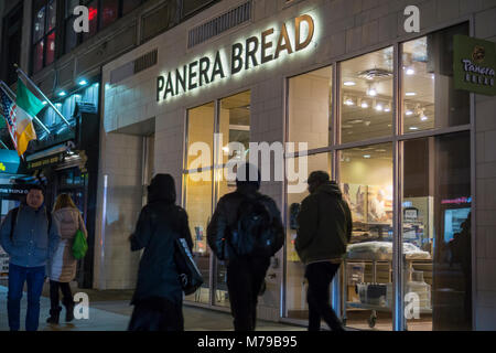 A Panera Bread store in the Chelsea neighborhood of New York, on Tuesday, March 6, 2018. Panera is a brand of JAB - Stock Photo