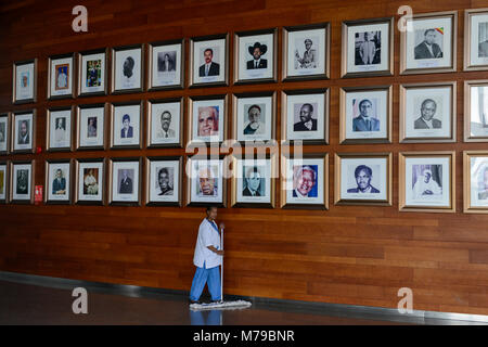 ETHIOPIA Addis Ababa, AU African Union building, wall with photos of african leader, presidents and PM ie Nelson - Stock Photo