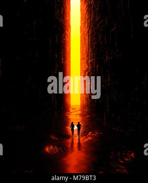 Fantasy landscape, fissure, darkness, light, sun, people running with a torch in hand in a science fiction landscape, - Stock Photo