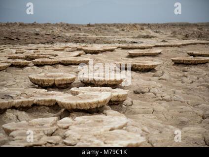 The volcanic landscape of dallol in the danakil depression, Afar region, Dallol, Ethiopia - Stock Photo
