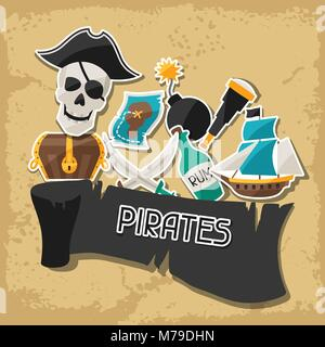 Background on pirate theme with stickers and objects - Stock Photo