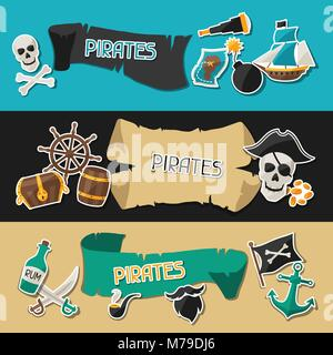 Banners on pirate theme with stickers and objects - Stock Photo