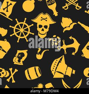 Seamless pattern on pirate theme with objects and elements - Stock Photo