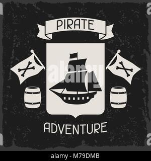 Background on pirate theme with objects and elements - Stock Photo