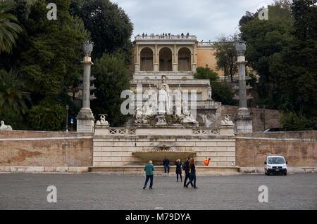 Rome, Italy - October 11, 2016: Fontana della Dea di Roma in Piazza del Popolo Square in Rome, Italy - Stock Photo