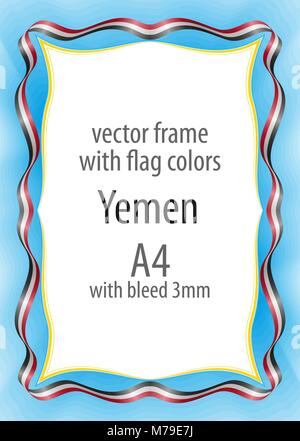 Frame and border of ribbon with the colors of the Yemen flag - Stock Photo