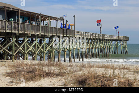 fishing pier in Myrtle Beach, South Carolina - Stock Photo