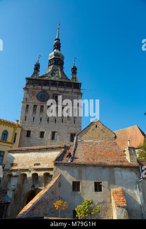 Image of Clock tower in Sighisoara in Romania. - Stock Photo