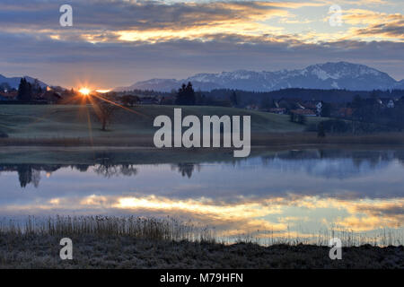 Germany, Bavaria, Upper Bavaria, Pfaffenwinkel region, Ostersee, Iffeldorf, Benediktenwand, sunrise, - Stock Photo