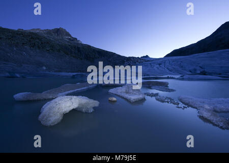 Rhone glacier in the morning light, canton Valais, Switzerland, - Stock Photo