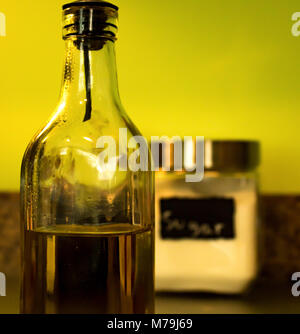 Olive Oil bottle in a Kitchen - Stock Photo