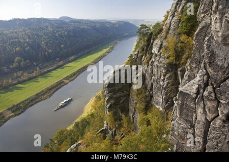 View of the bastion in the Elbe valley, Saxon Switzerland, Rathen, Saxony, Germany, - Stock Photo
