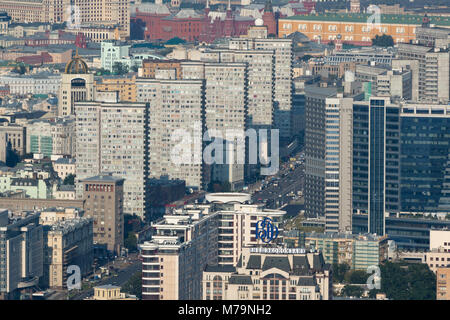 Aerial view of New Arbat Avenue in central Moscow, Russia - Stock Photo