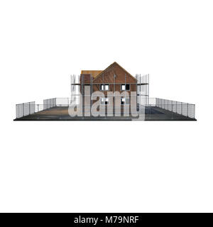 construction of private houses of brick on white background. Side view. 3D illustration - Stock Photo