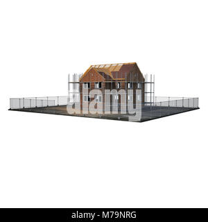 construction of private houses of brick on white background. 3D illustration - Stock Photo