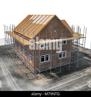 construction of private houses of brick on white background. Angle from up. 3D illustration - Stock Photo